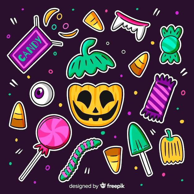 Mão desenhada coleção de doces de halloween bonito Vetor grátis