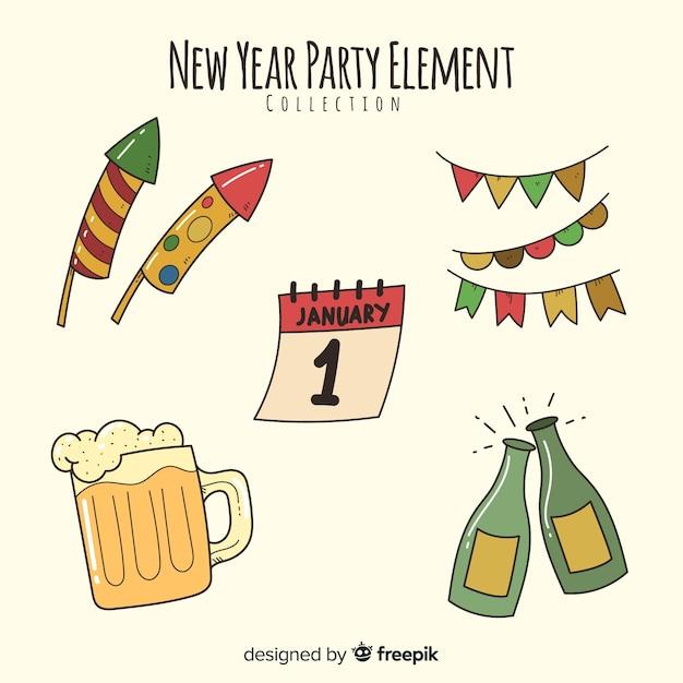 Mão desenhada coleção de elemento de festa de ano novo Vetor grátis