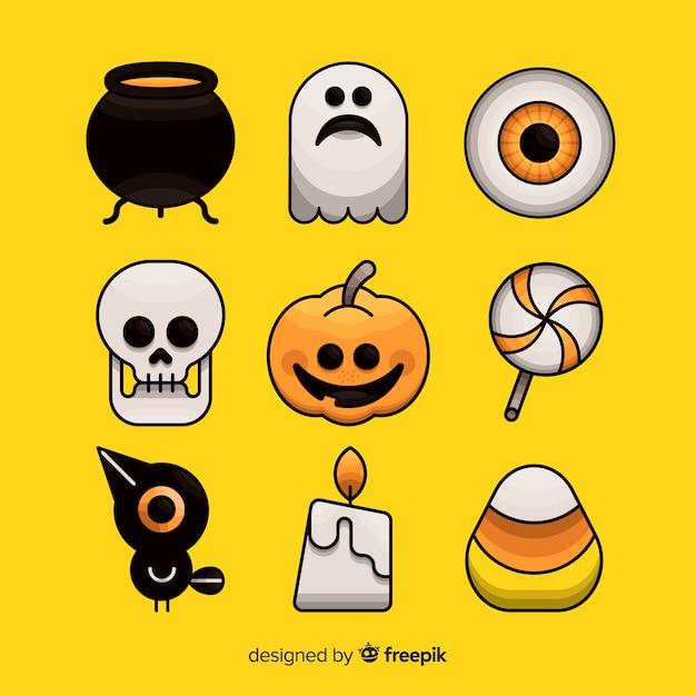 Mão desenhada coleção de elemento de halloween em fundo amarelo Vetor grátis