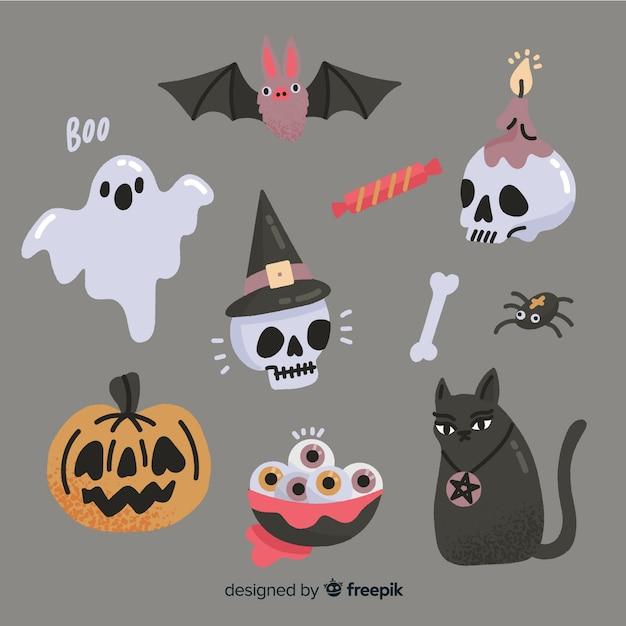 Mão desenhada coleção de elemento de halloween em fundo cinza Vetor grátis