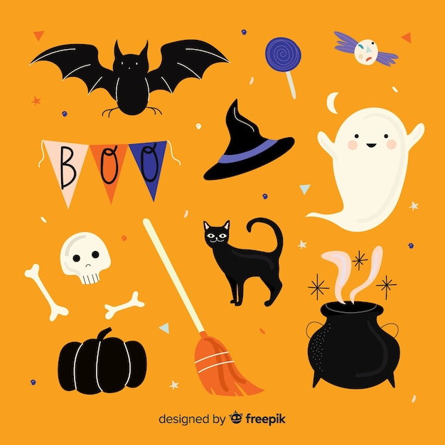 Mão desenhada coleção de elemento de halloween Vetor grátis