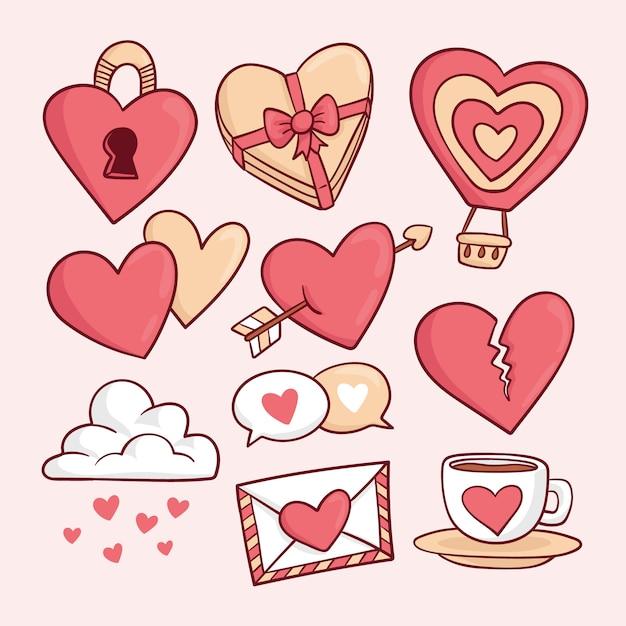 Mão desenhada coleção de elementos de dia dos namorados Vetor grátis