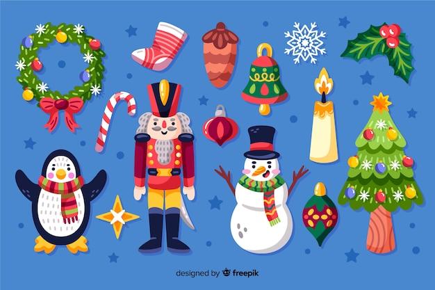 Mão desenhada coleção de elementos de natal Vetor grátis