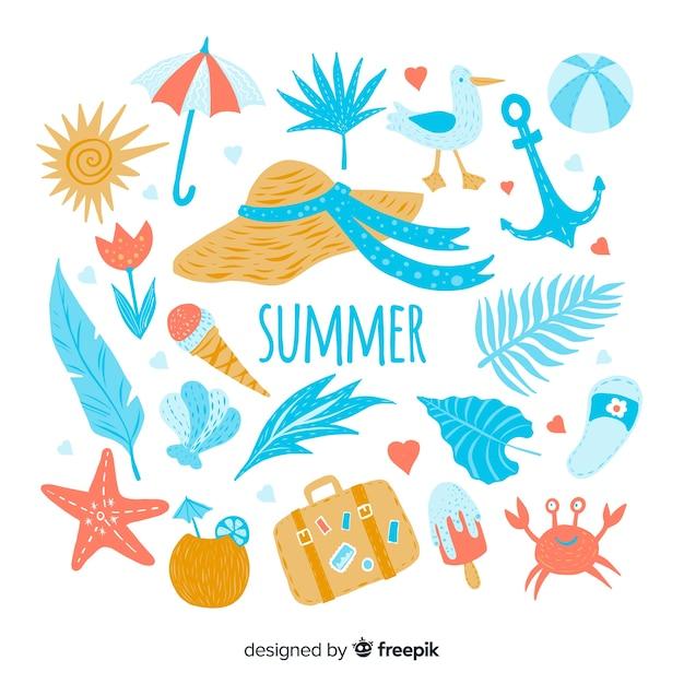 Mão desenhada coleção de elementos de verão Vetor grátis