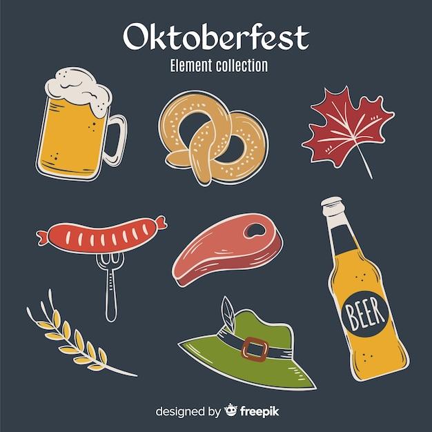 Mão desenhada coleção de elementos oktoberfest em fundo preto Vetor grátis