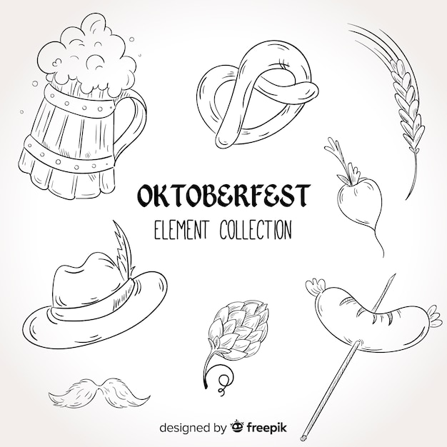 Mão desenhada coleção de elementos oktoberfest Vetor grátis