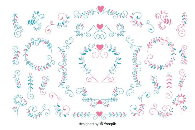 Mão desenhada coleção de enfeite de casamento Vetor grátis