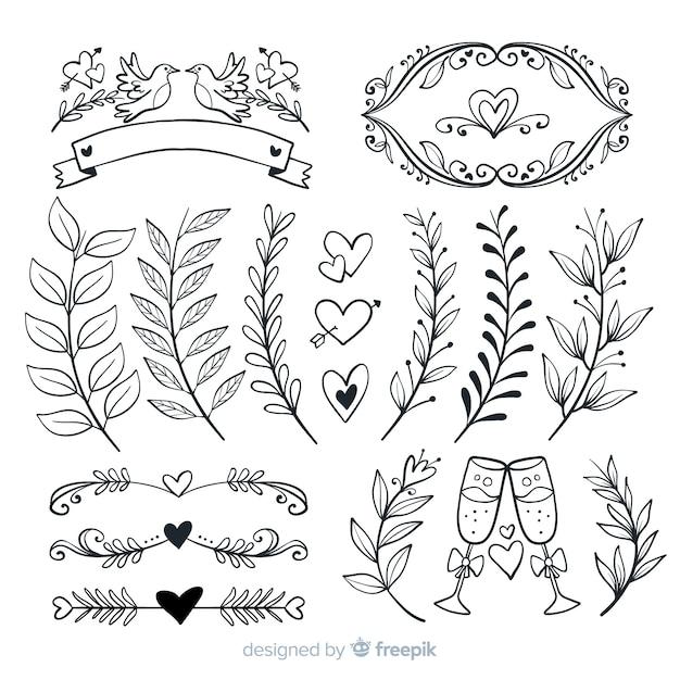 Mão desenhada coleção de enfeites de casamento Vetor grátis