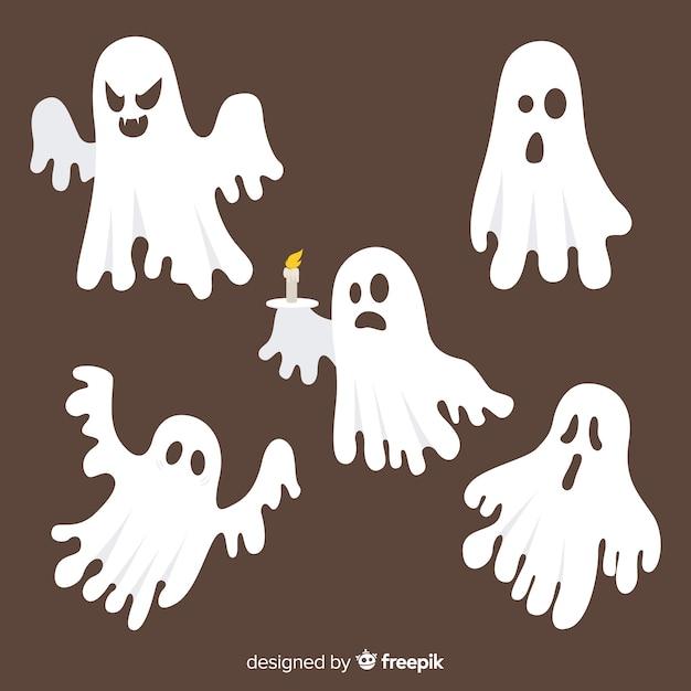 Mão desenhada coleção de fantasma assustador de halloween Vetor grátis