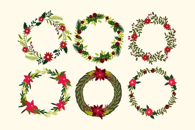 Mão desenhada coleção de flores e grinaldas de natal Vetor grátis