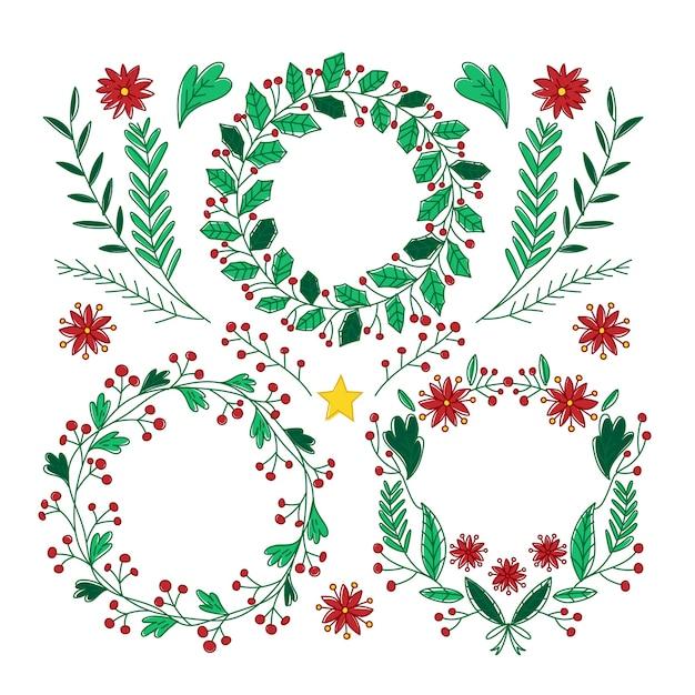 Mão desenhada coleção de grinalda de natal Vetor grátis