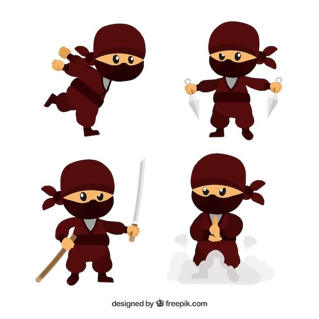 Mão desenhada coleção de guerreiro ninja Vetor grátis