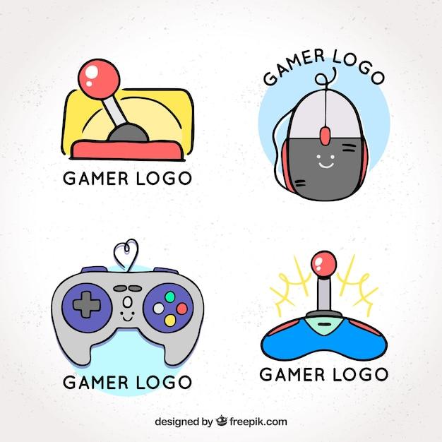 Mão desenhada coleção de logotipo de joystick com estilo vintage Vetor grátis