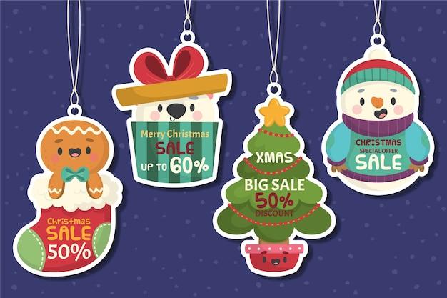 Mão desenhada coleção de marca de venda de natal Vetor grátis