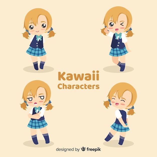 Mão desenhada coleção de meninas sorridente kawaii Vetor grátis
