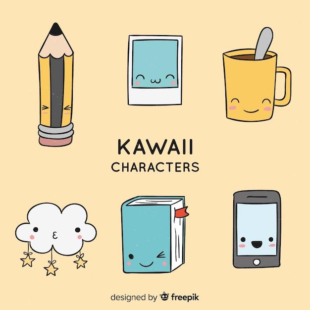 Mão desenhada coleção de objetos kawaii Vetor grátis