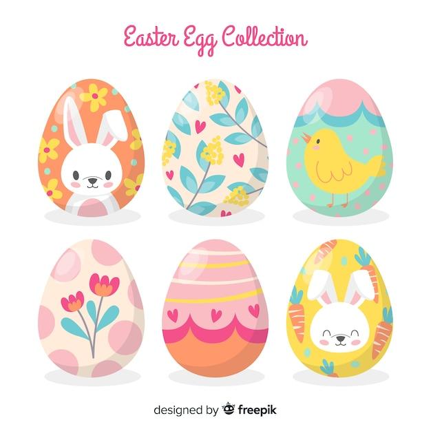 Mão desenhada coleção de ovos de páscoa dia Vetor grátis