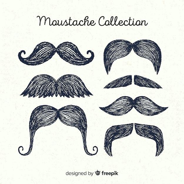 Mão desenhada coleção de pacote de bigode movember Vetor grátis