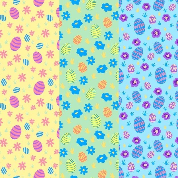 Mão desenhada coleção de padrão de dia de páscoa Vetor grátis