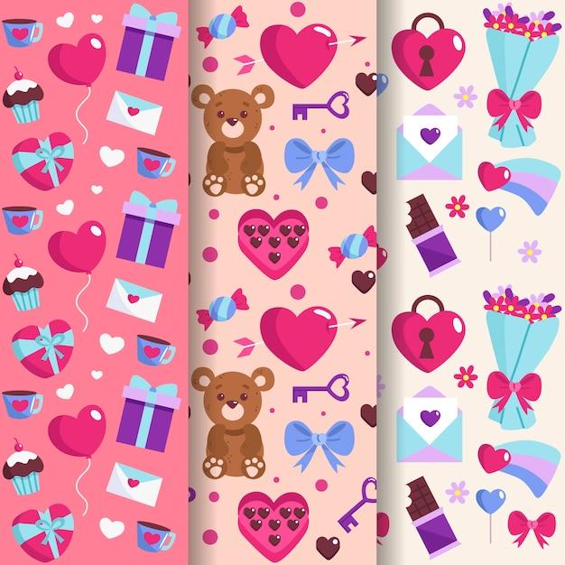 Mão desenhada coleção de padrão de dia dos namorados Vetor grátis