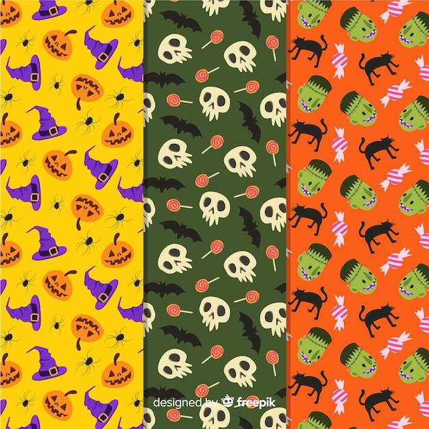 Mão desenhada coleção de padrão de elementos de halloween Vetor grátis