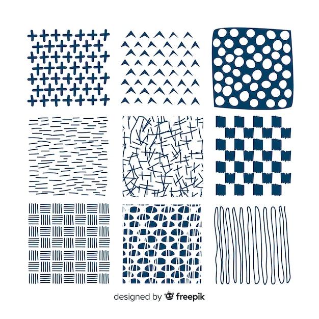 Mão desenhada coleção de padrão de forma abstrata Vetor grátis