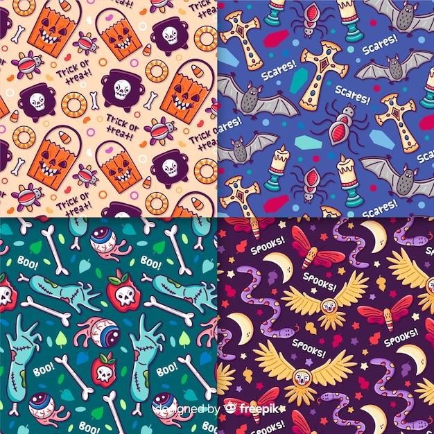 Mão desenhada coleção de padrão de halloween com animais e objetos Vetor grátis