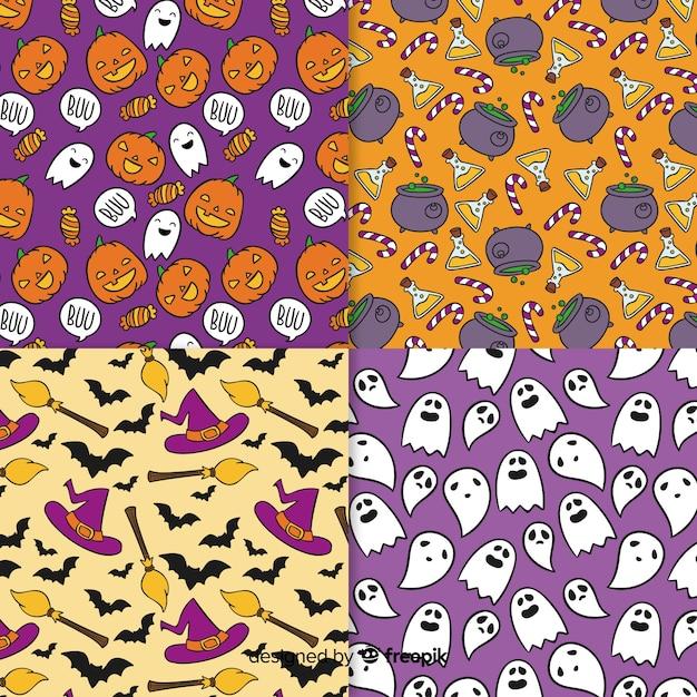 Mão desenhada coleção de padrão de halloween Vetor grátis