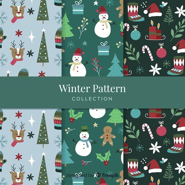 Mão desenhada coleção de padrão de inverno Vetor grátis