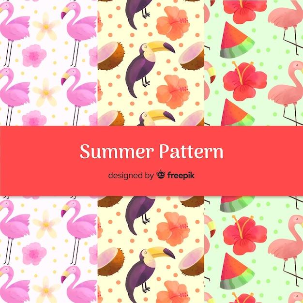 Mão desenhada coleção de padrão de pássaros de verão Vetor grátis