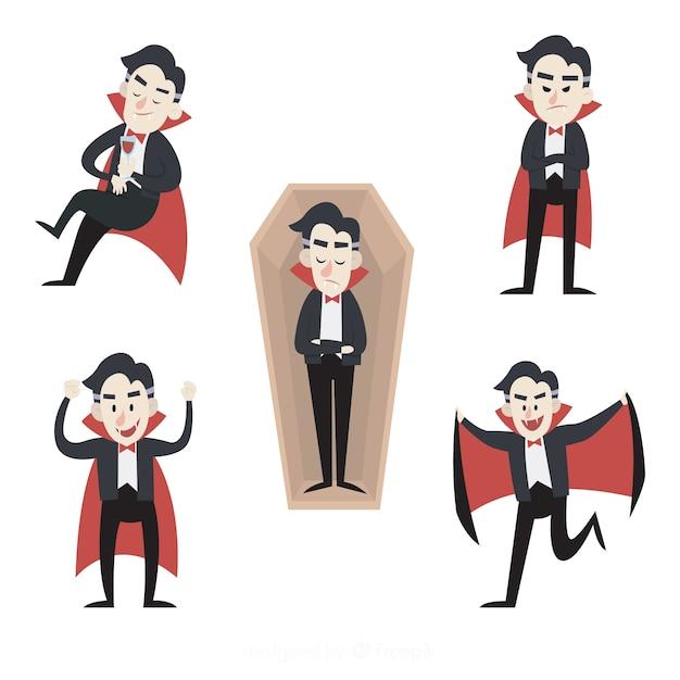 Mão desenhada coleção de personagem de vampiro Vetor grátis
