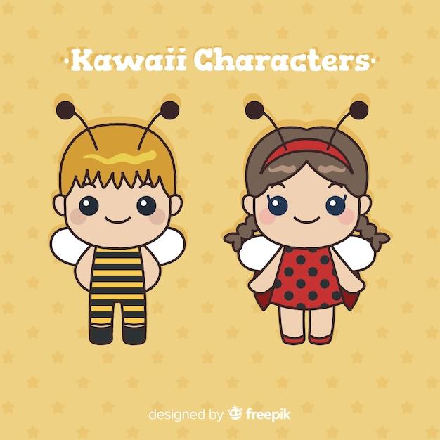 Mão desenhada coleção de personagem kawaii Vetor grátis