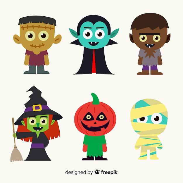 Mão desenhada coleção de personagens de halloween para crianças Vetor grátis