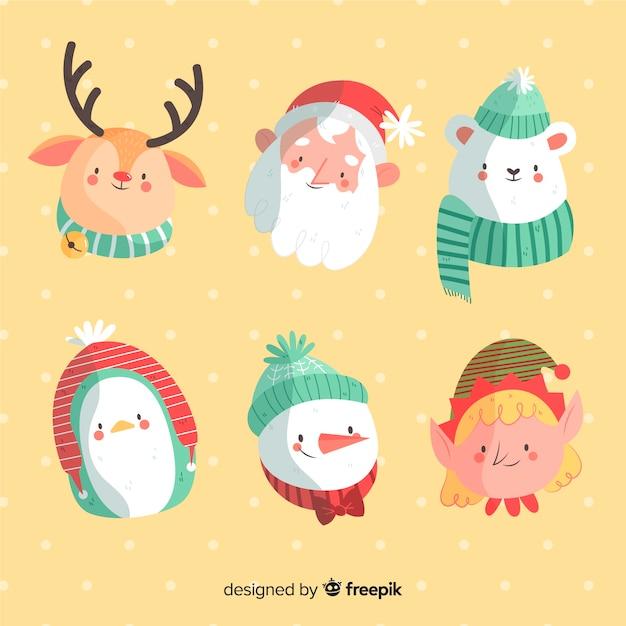 Mão desenhada coleção de personagens de natal Vetor grátis