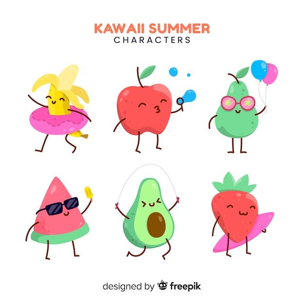 Mão desenhada coleção de personagens de verão kawaii Vetor grátis