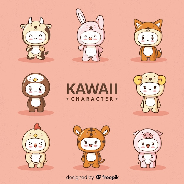 Mão desenhada coleção de personagens disfarçados de kawaii Vetor grátis