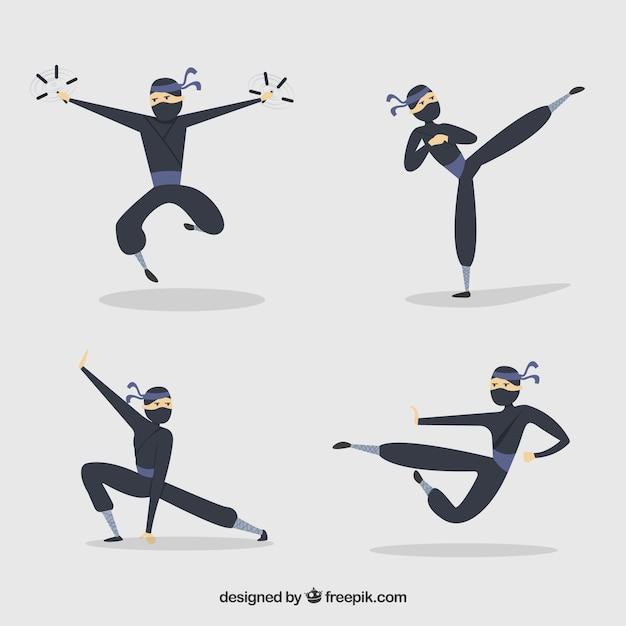 Mão desenhada coleção de personagens ninja em poses diferentes Vetor grátis