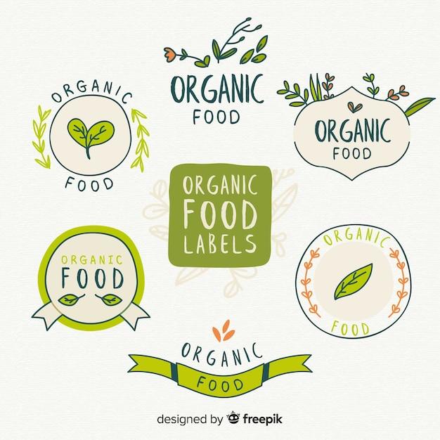 Mão desenhada coleção de rótulo de alimentos orgânicos Vetor grátis