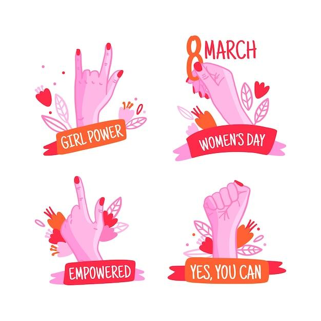 Mão desenhada coleção de rótulos de dia das mulheres Vetor grátis