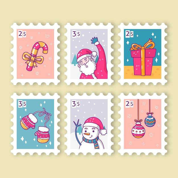 Mão desenhada coleção de selos de natal Vetor grátis