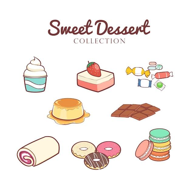 Mão desenhada coleção de sobremesas doces Vetor Premium