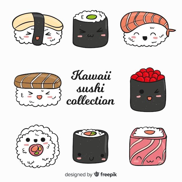 Mão desenhada coleção de sushi bonito Vetor grátis