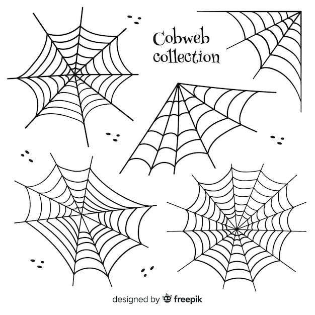 Mão desenhada coleção de teias de aranha dia das bruxas Vetor grátis
