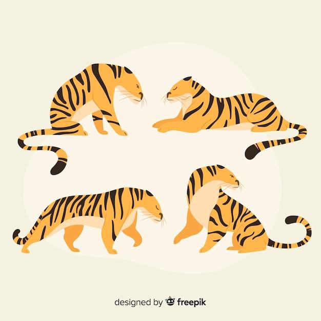 Mão desenhada coleção de tigre de estilo Vetor grátis