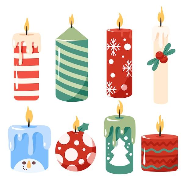 Mão desenhada coleção de velas de natal Vetor grátis
