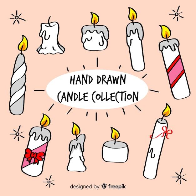 Mão desenhada coleção de velas Vetor grátis