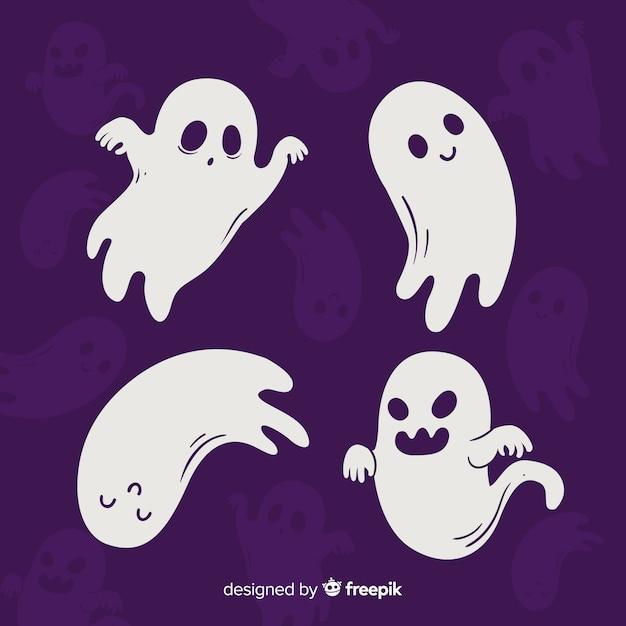 Mão desenhada coleção fantasma de halloween Vetor grátis