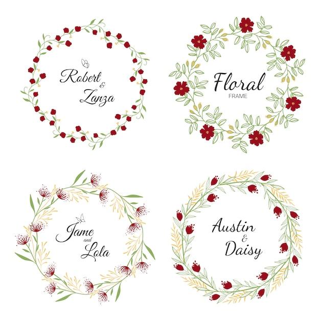 Mão desenhada coleção guirlanda floral para casamento Vetor Premium