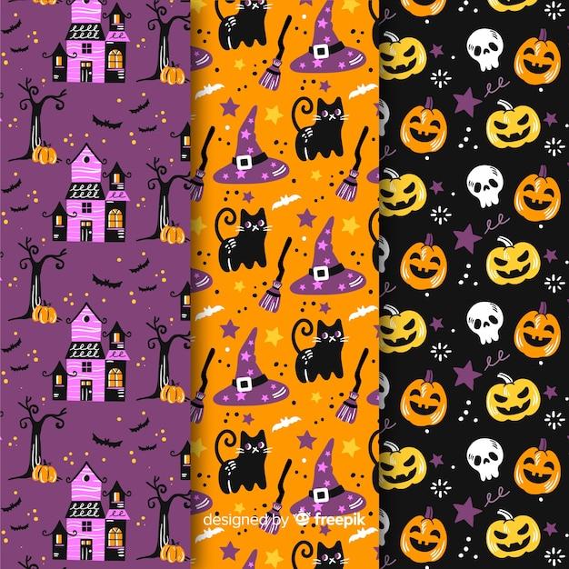 Mão desenhada coleção padrão de halloween Vetor grátis