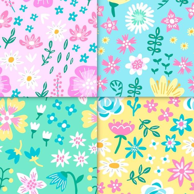 Mão desenhada coleção padrão de primavera Vetor grátis